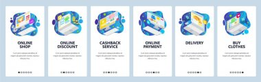 Mobile app onboarding screens. Online shopping isometric icons, cashback service, delivery and payment. Vector banner template for website and mobile development. Web site design flat illustration
