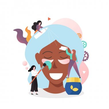 Beauticians washing woman face with facial cleanser, applying cosmetic eye patches and mask, vector illustration. Cosmetology, beauty and face care services concept for web banner, website page, etc. icon