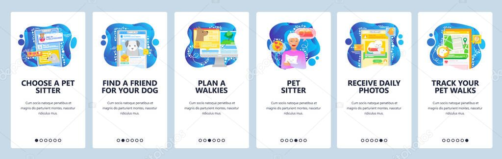 Find Pet Sitter App Dog And Cats House Sitting Walking With Animals Mobile App Onboarding Screens Menu Vector Banner Template For Website And Mobile Development Web Site Design Illustration Premium Vector