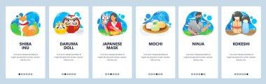 Japan website and mobile app onboarding screens vector template