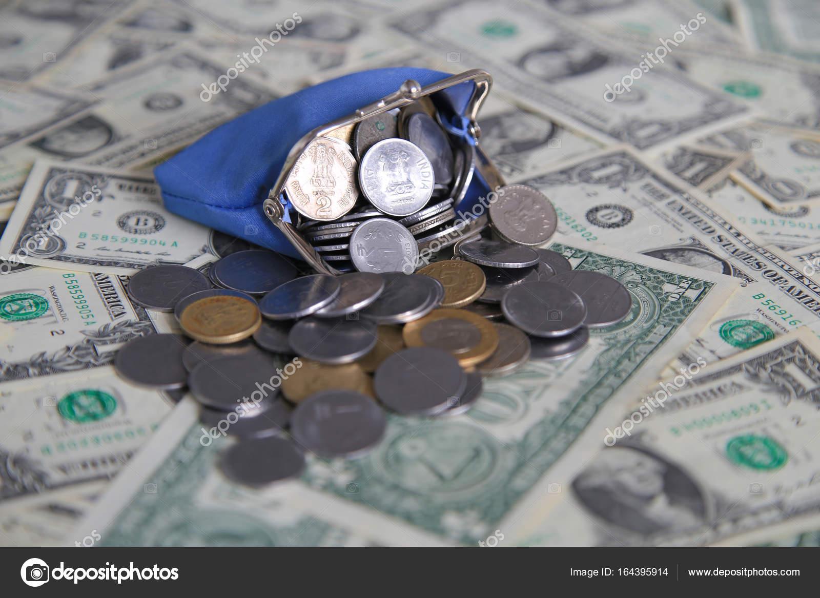 1 Us Dollar Papiergeld Geldbörse Münzen Geld Indische Rupien