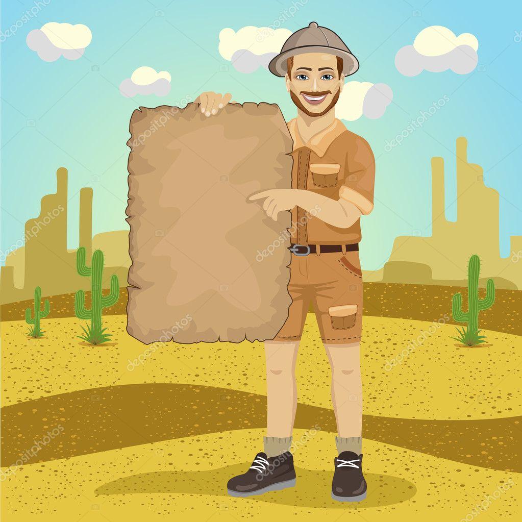Giovane esploratore con cappello di safari che tengono la mappa del tesoro  nel deserto– illustrazione stock 1620efe80a22