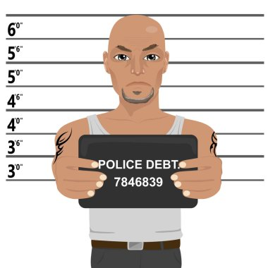 Latino gangster with tattoos holding mugshot