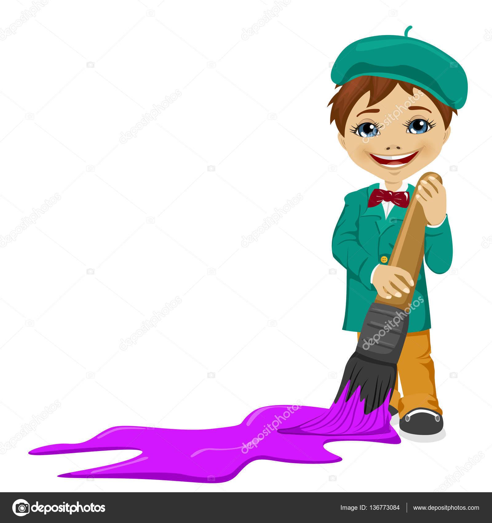 pincel pintando. lindo niño pintando el piso con un pincel grande \u2014 archivo imágenes vectoriales #136773084 c