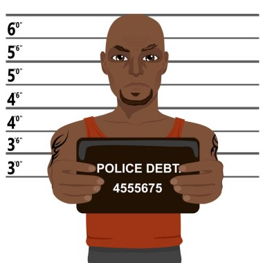 african american criminal with tattoos holding mugshot