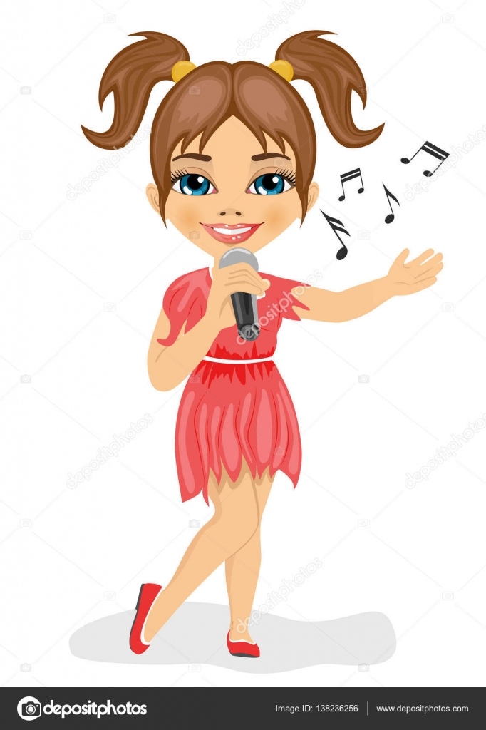 Девушка в красном платье поет песню