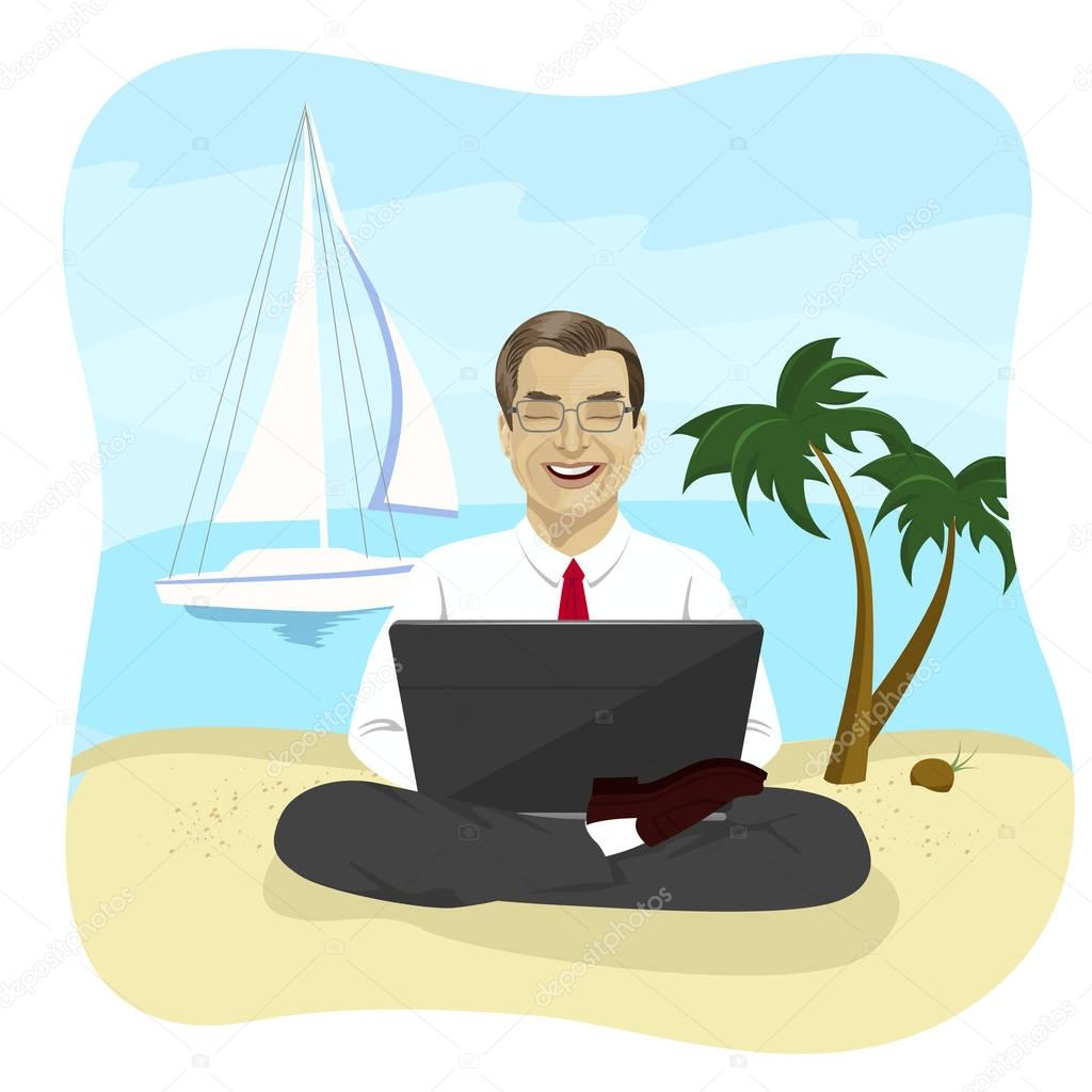 Businessman using laptop computer on tropical beach sitting in lotus pose