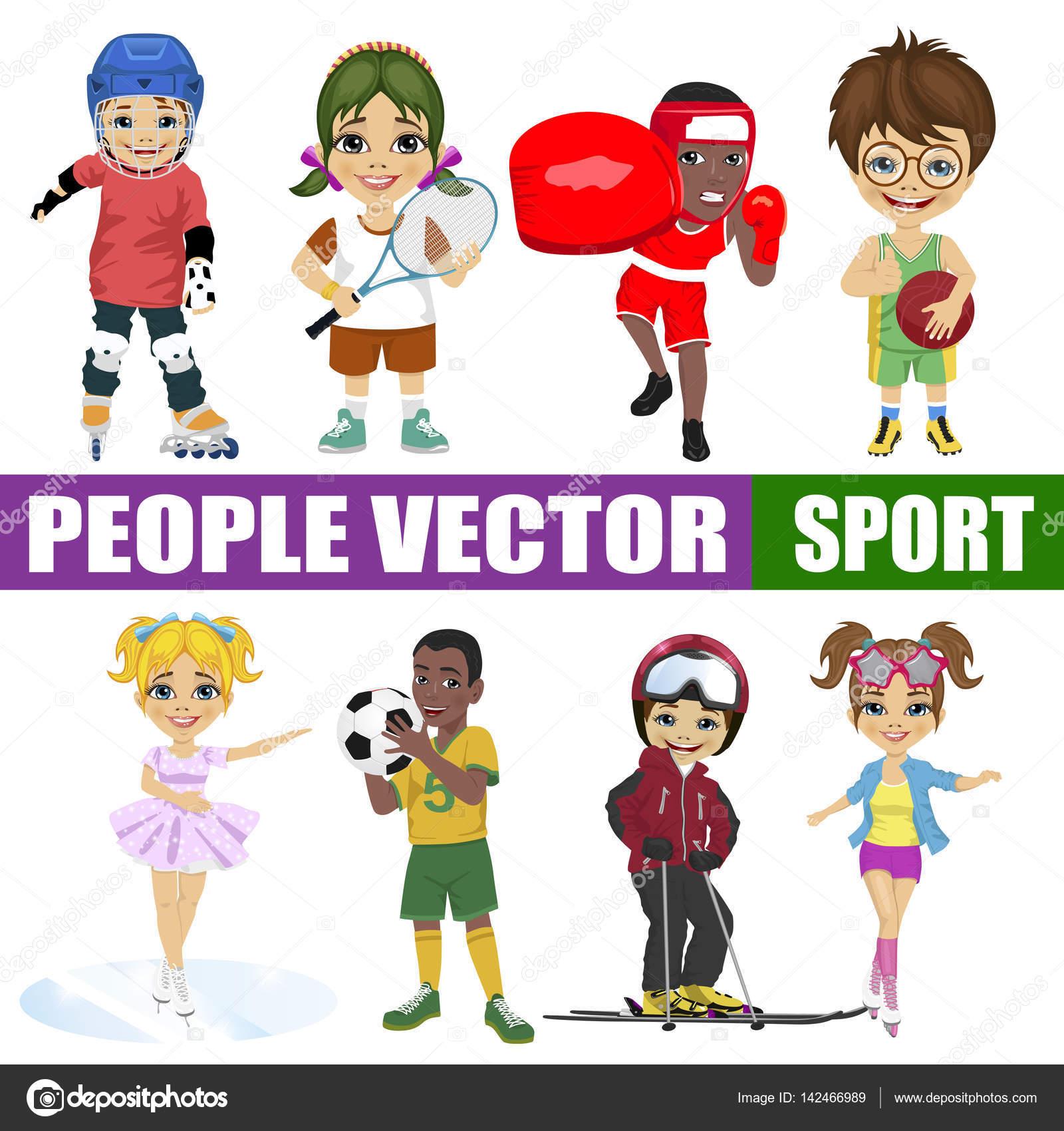 Set Of Diverse Kids Hockey Player Tennis Boxer Basketball Figure Skater Soccer Skier Roller Stock Vector C Flint01 142466989