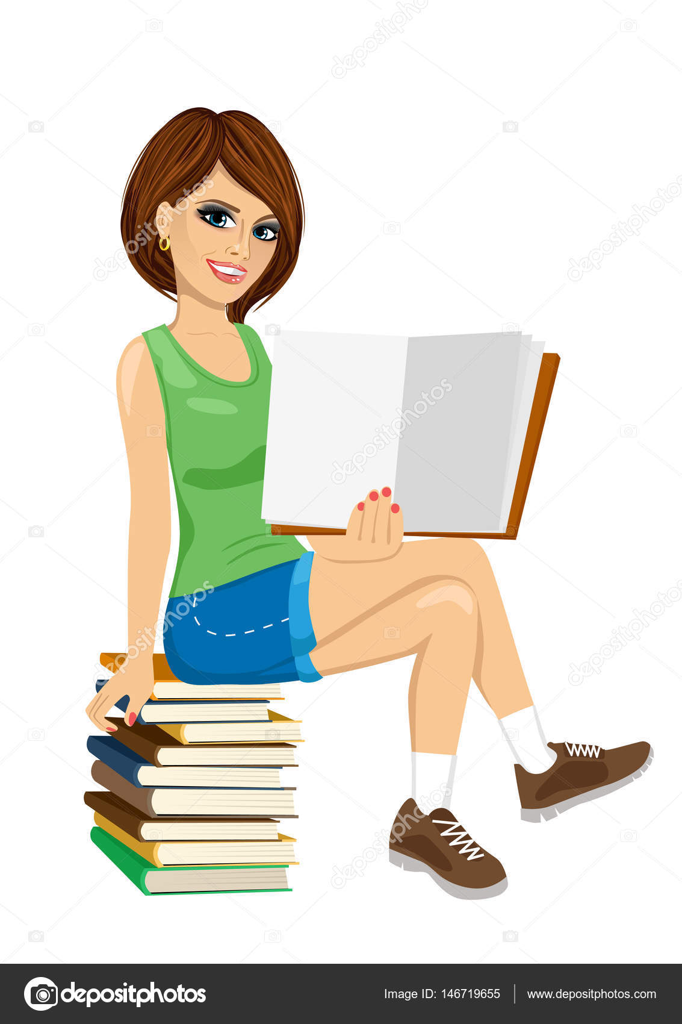 0ab676e64 Chica joven estudiante sentada en la pila de libros mostrando el libro  abierto– ilustración de stock