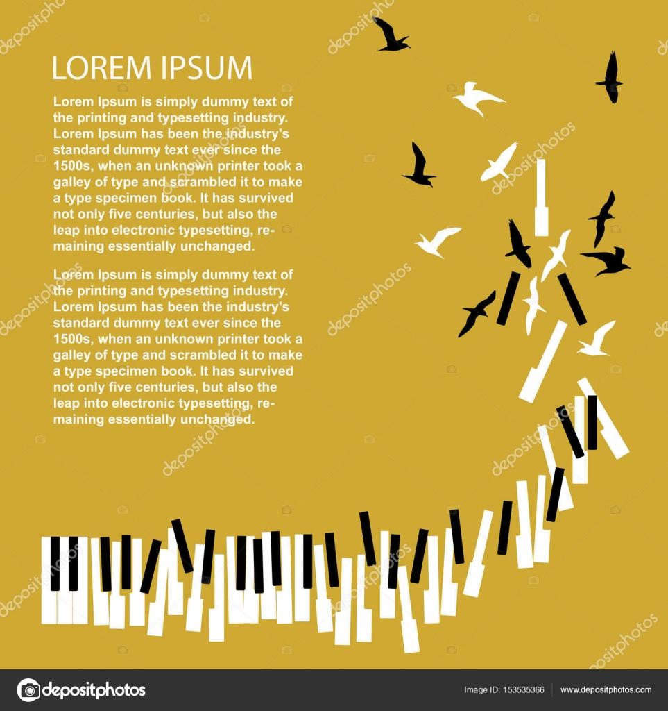 Teclas del piano se convierten en aves. Plantilla para el cartel del ...