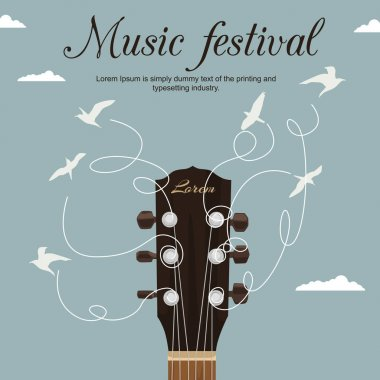 Guitar neck with strings turn into white birds in blue sky. Music festival flyer