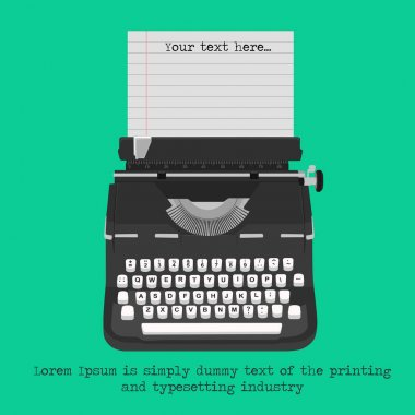 Retro typewriter with blank paper with copyspace for text