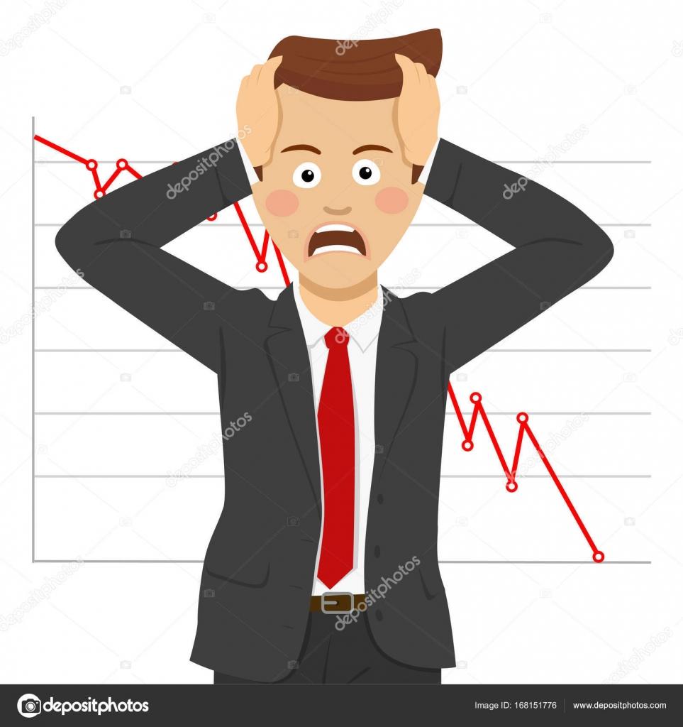 192e697e61 Giovani uomo d'affari disperato, concetto di crisi finanziaria. Caduta  delle quotazioni alla borsa valori su bianco — Vettoriali di ...