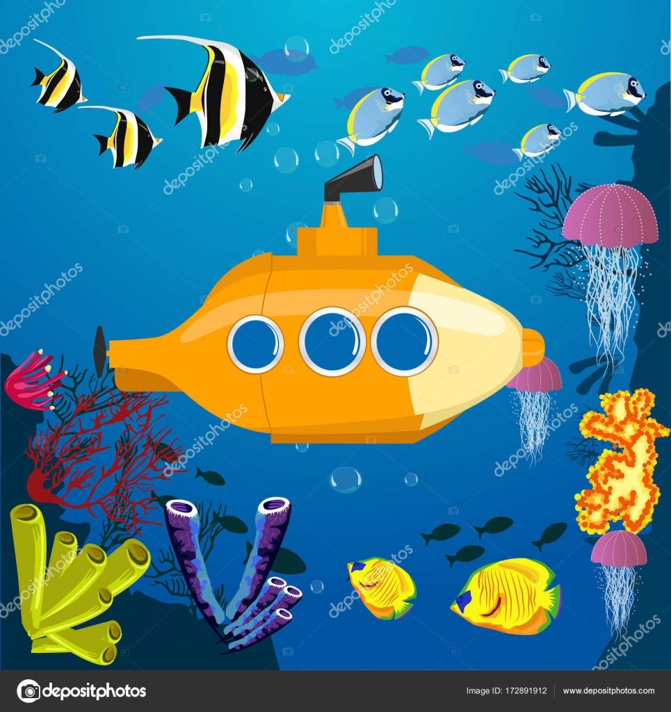 Cartoon yellow submarine underwater. Submarine background ...