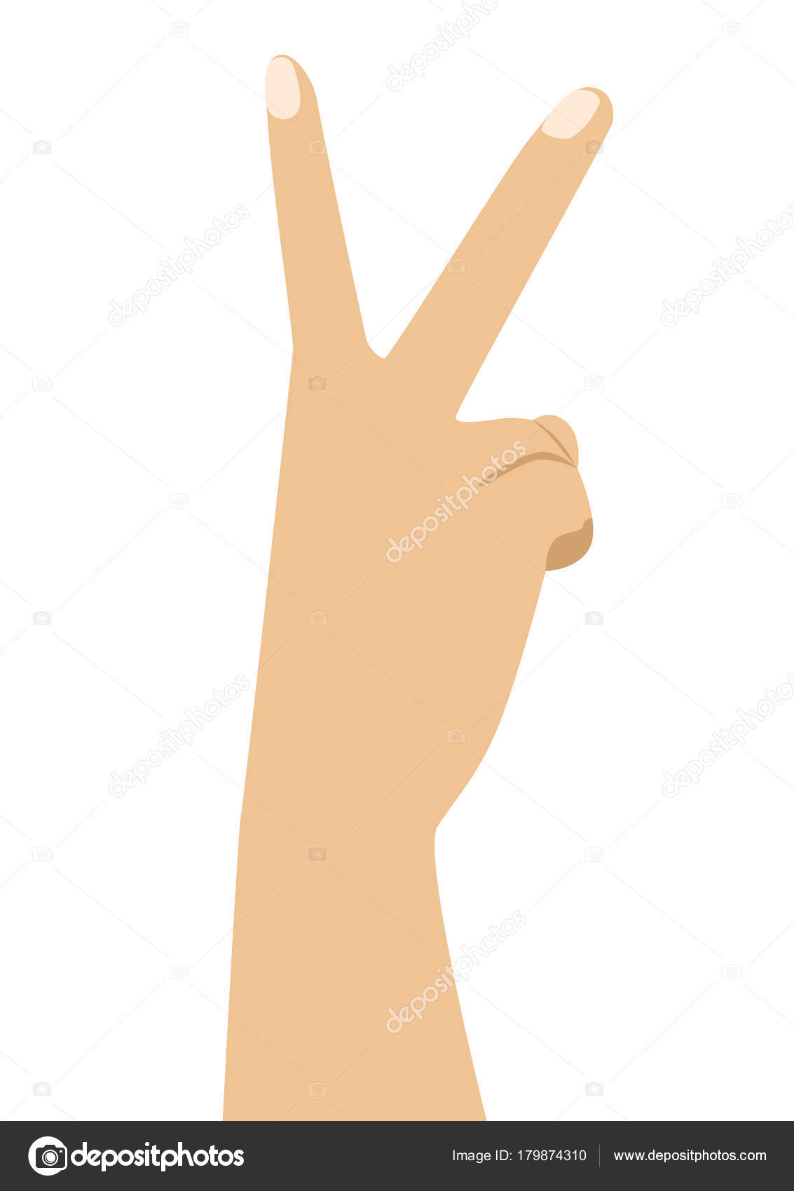 Hand With Two Fingers Up In Peace Or Victory Symbol The Sign For V