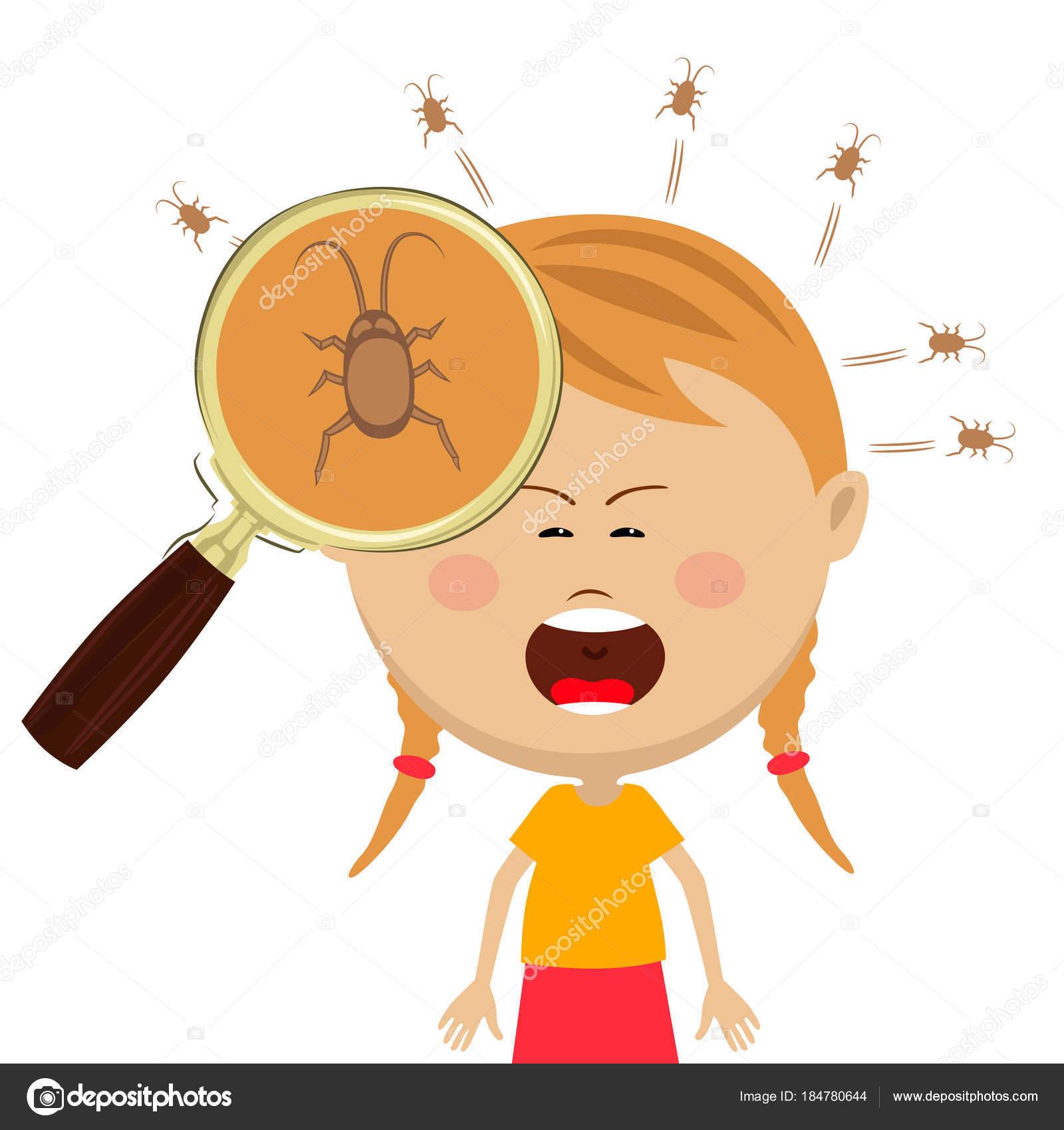 Lupa mostra piolhos na cabeça da menina cryng — Vetores de