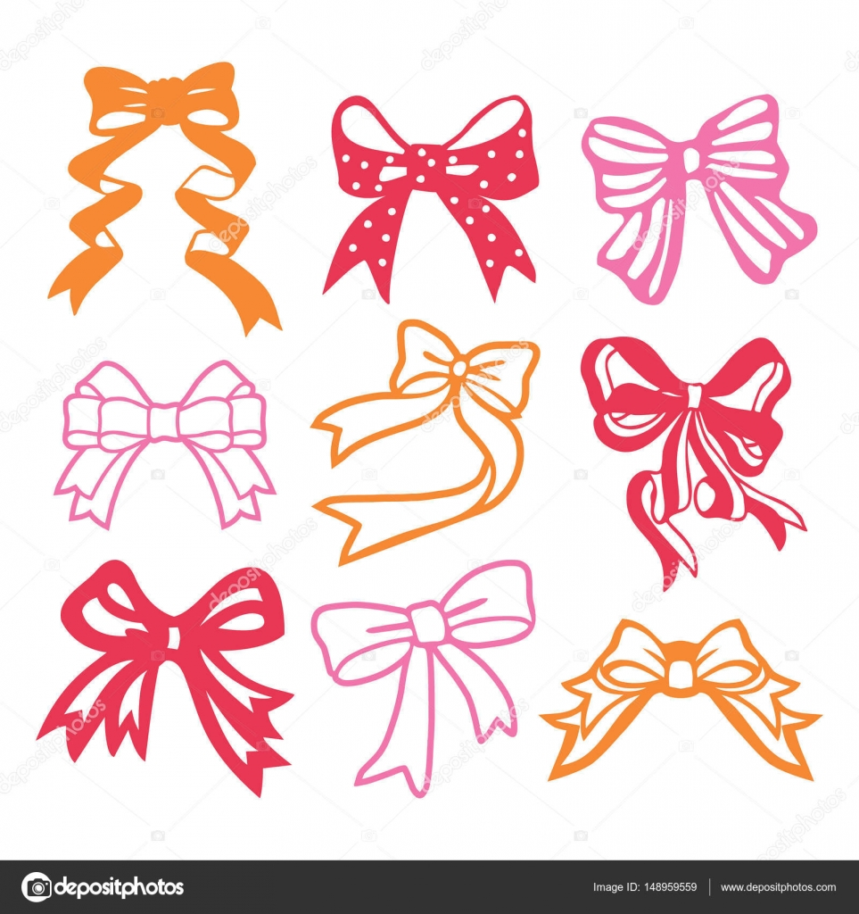 A vector illustration of 9 assorted vintage paper cut silhouette ribbon bow  set.