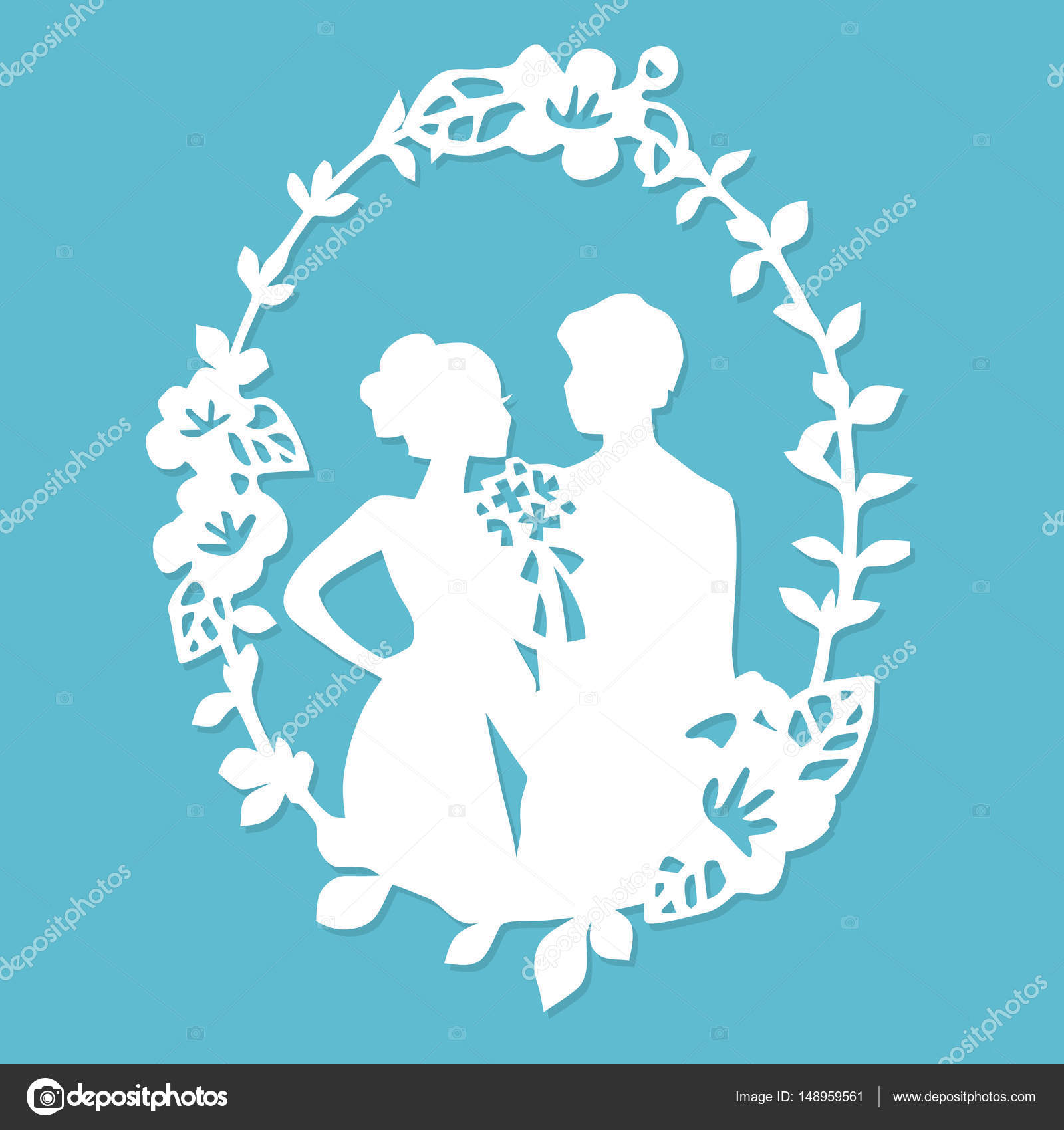 A Vector Illustration Of Vintage Silhouette Wedding Groom Bride Wreath Frame In Paper Cut Style By Totallyjamie