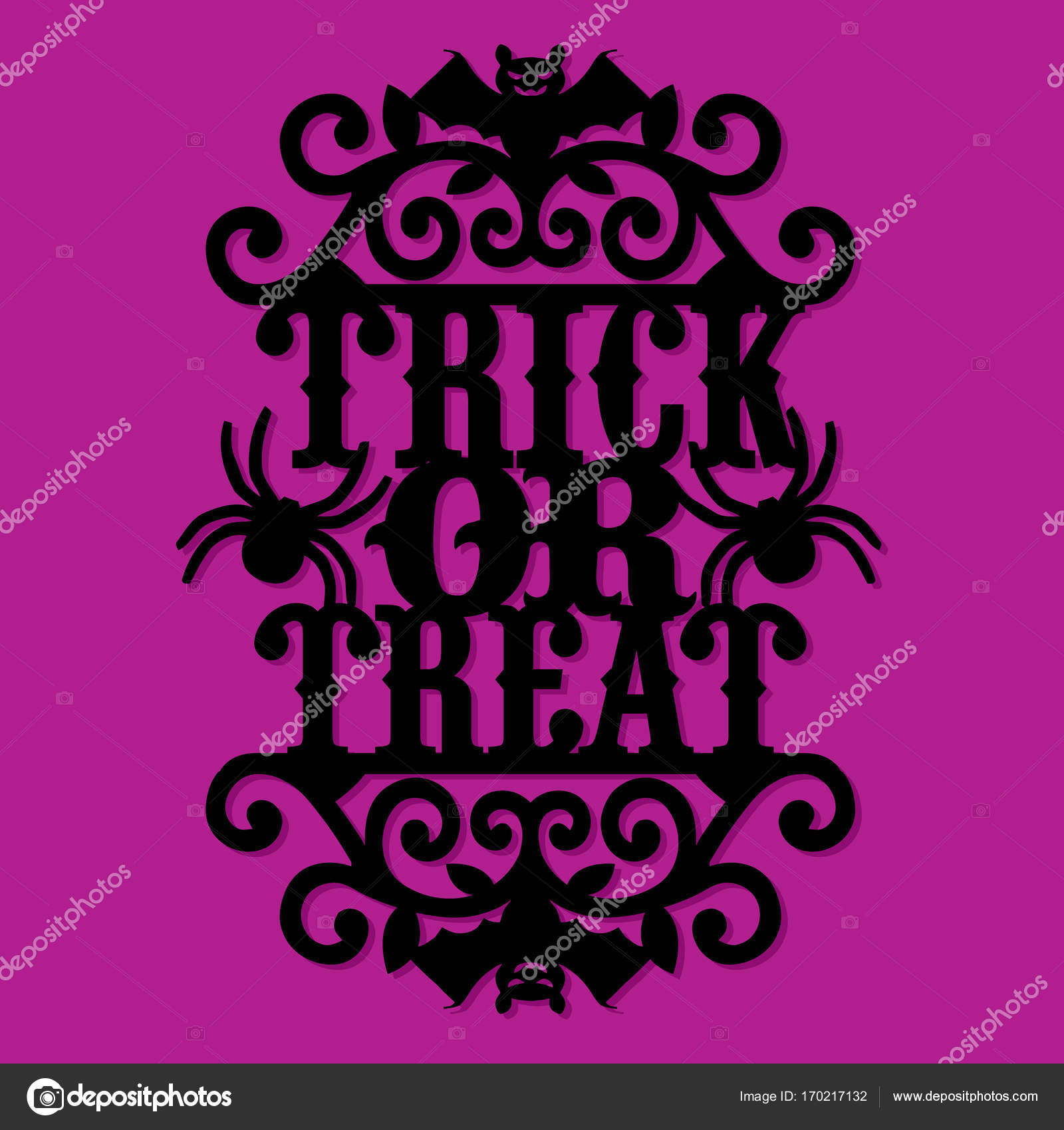 Halloween Trick Or Treat Silhouette.Paper Cut Silhouette Halloween Trick Or Treat Vintage Ornate