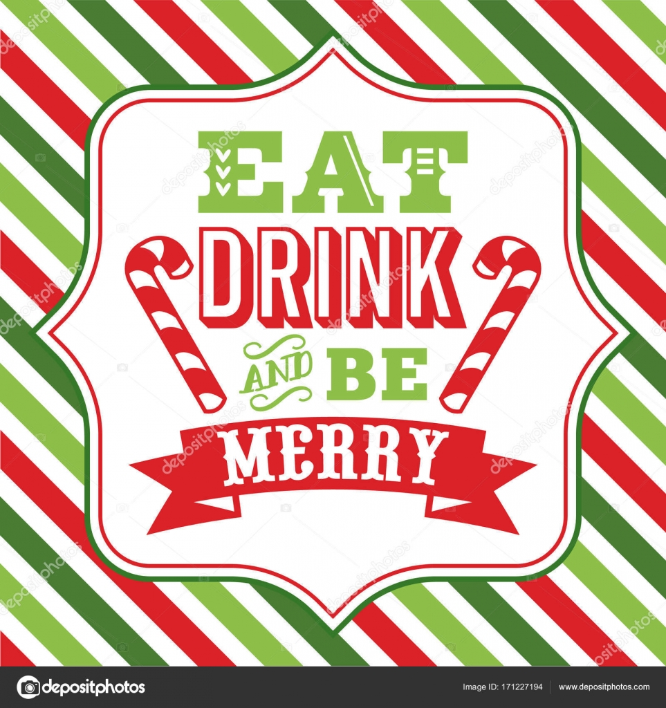 Eat drink and be merry christmas sayings word art — Stock Vector ...