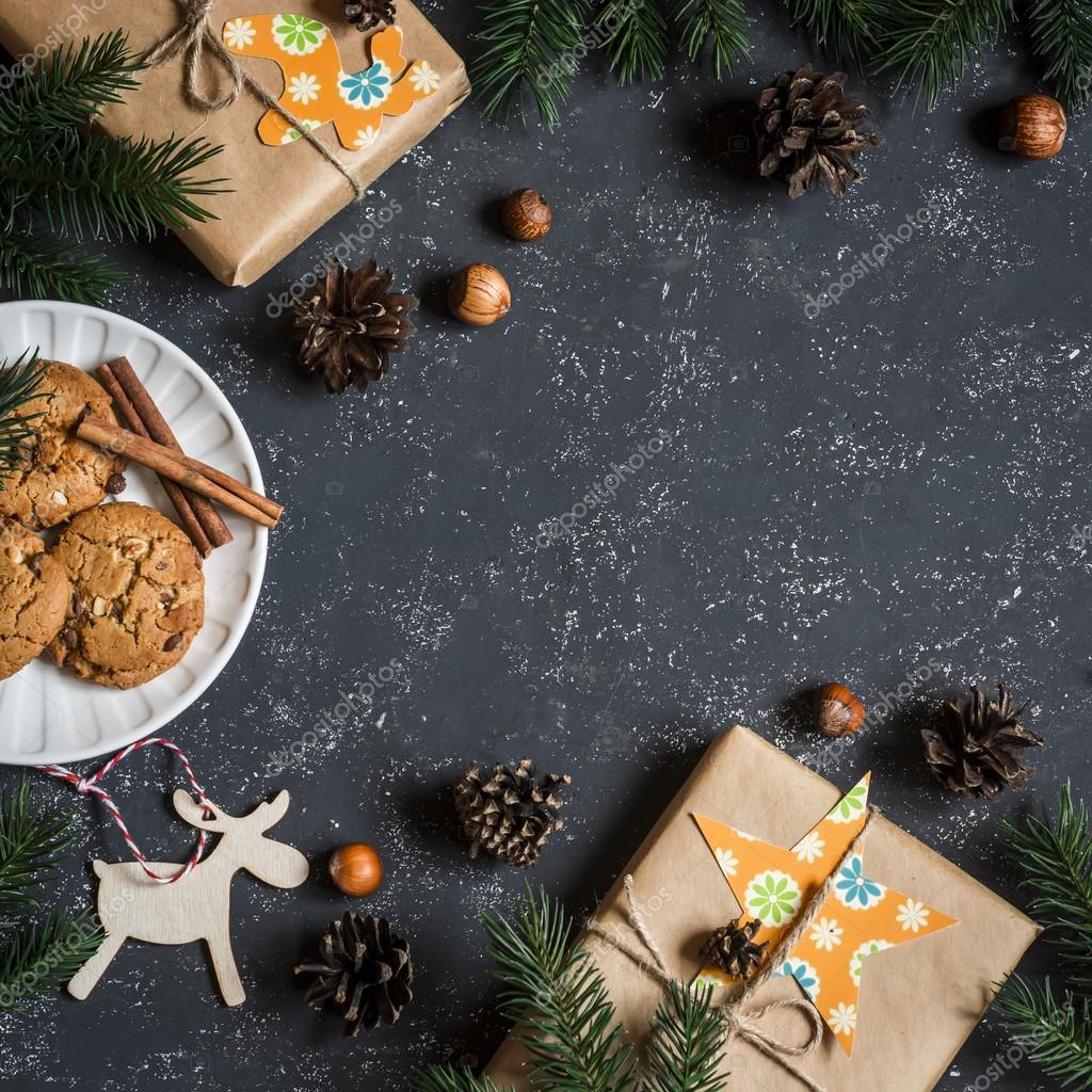 Christmas background. Christmas gifts, decorations, cookies ...