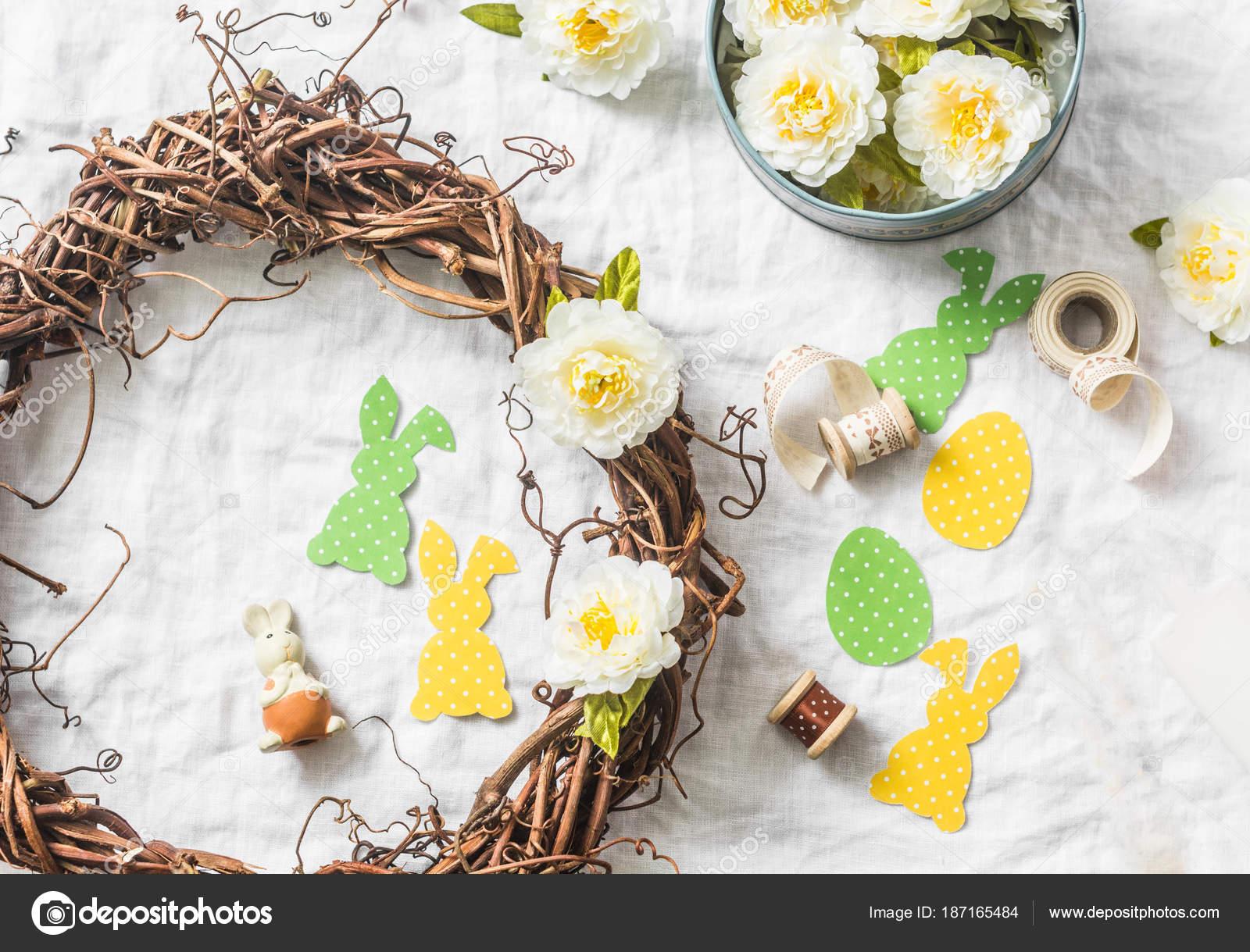 Homemade Easter Wreath Vines Flowers Paper Rabbits Ribbons White