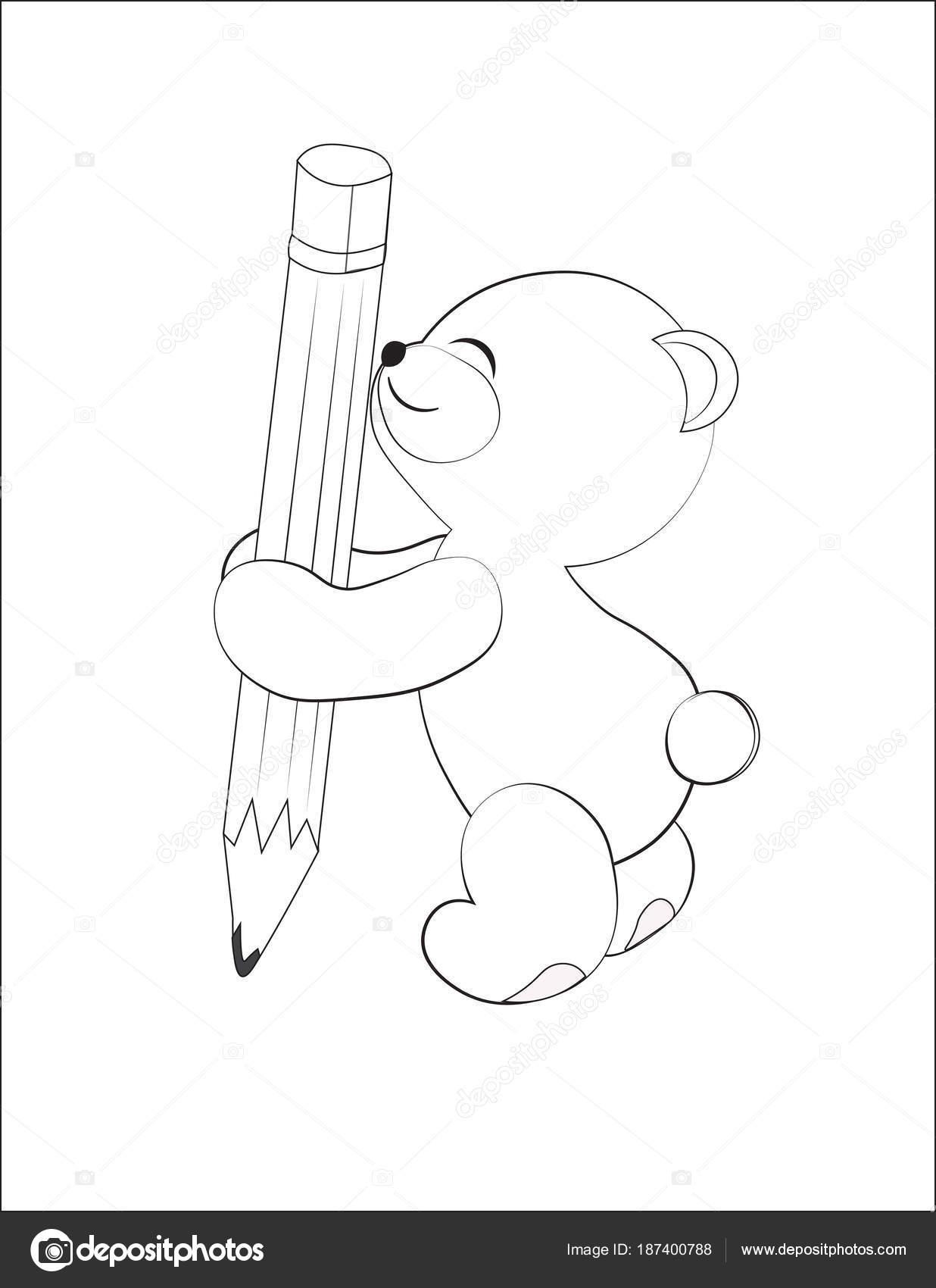 Teddybär mit einem Bleistift-Färbung — Stockvektor © Lollitta #187400788