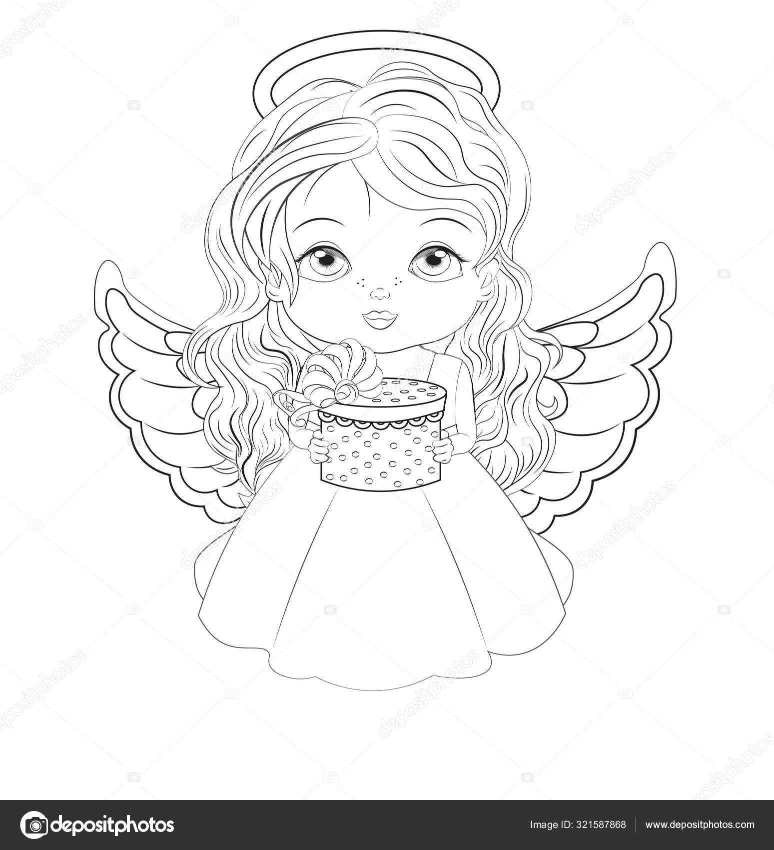 Christmas Angel Coloring Book Stock Vector C Lollitta 321587868