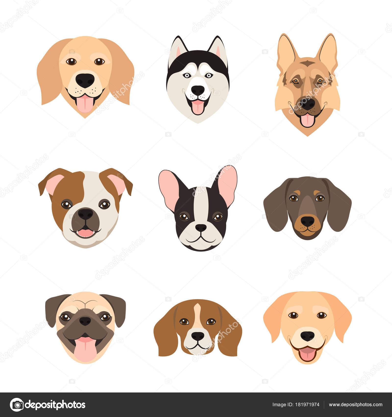 Dibujos Caras De Perros Plano Perro Cabeza Los Iconos De Estilo