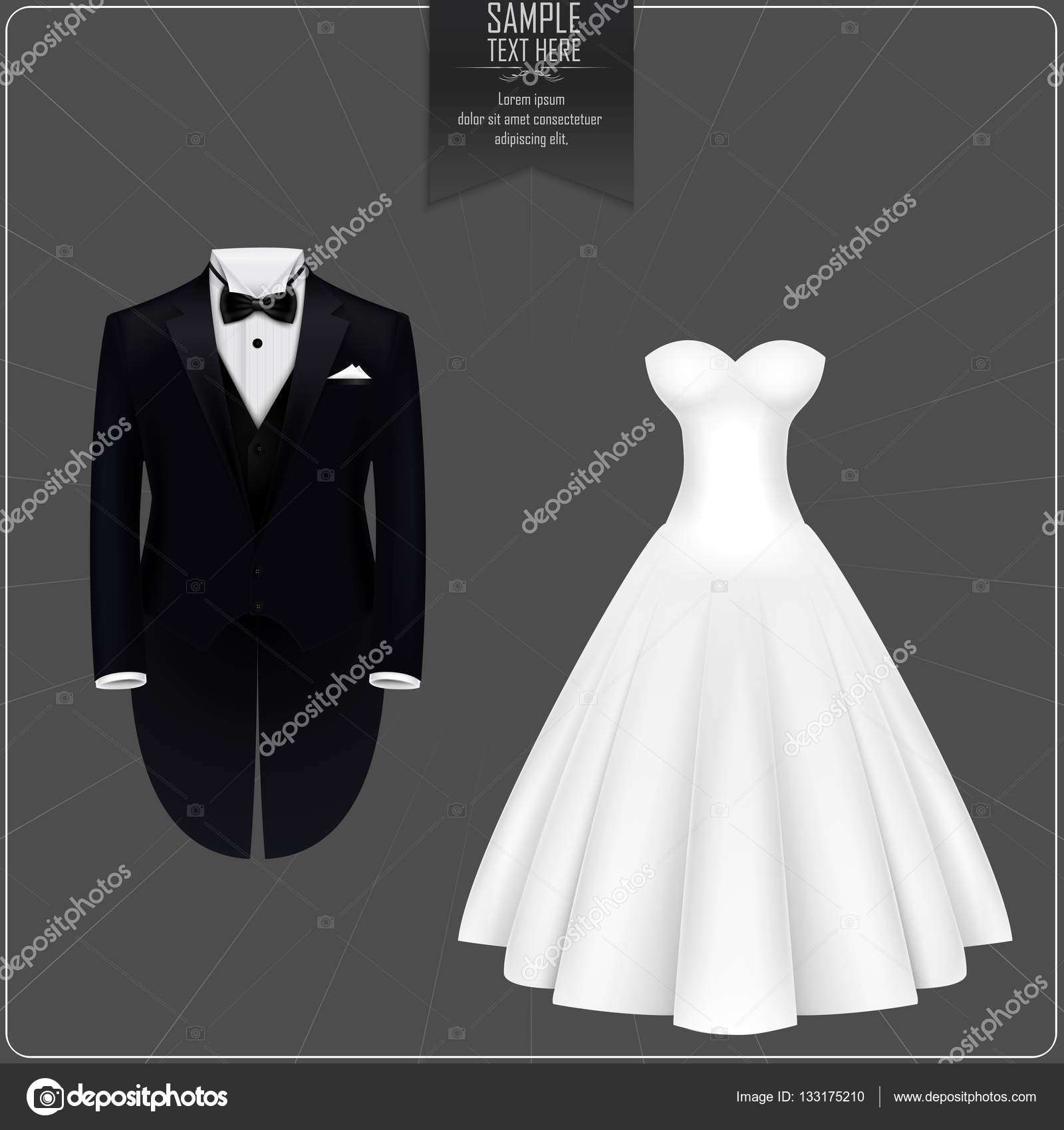 Tuxedo and bridal gown — Stock Vector © artnovi #133175210
