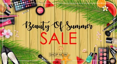 Summer sale with beauty and cosmetics background