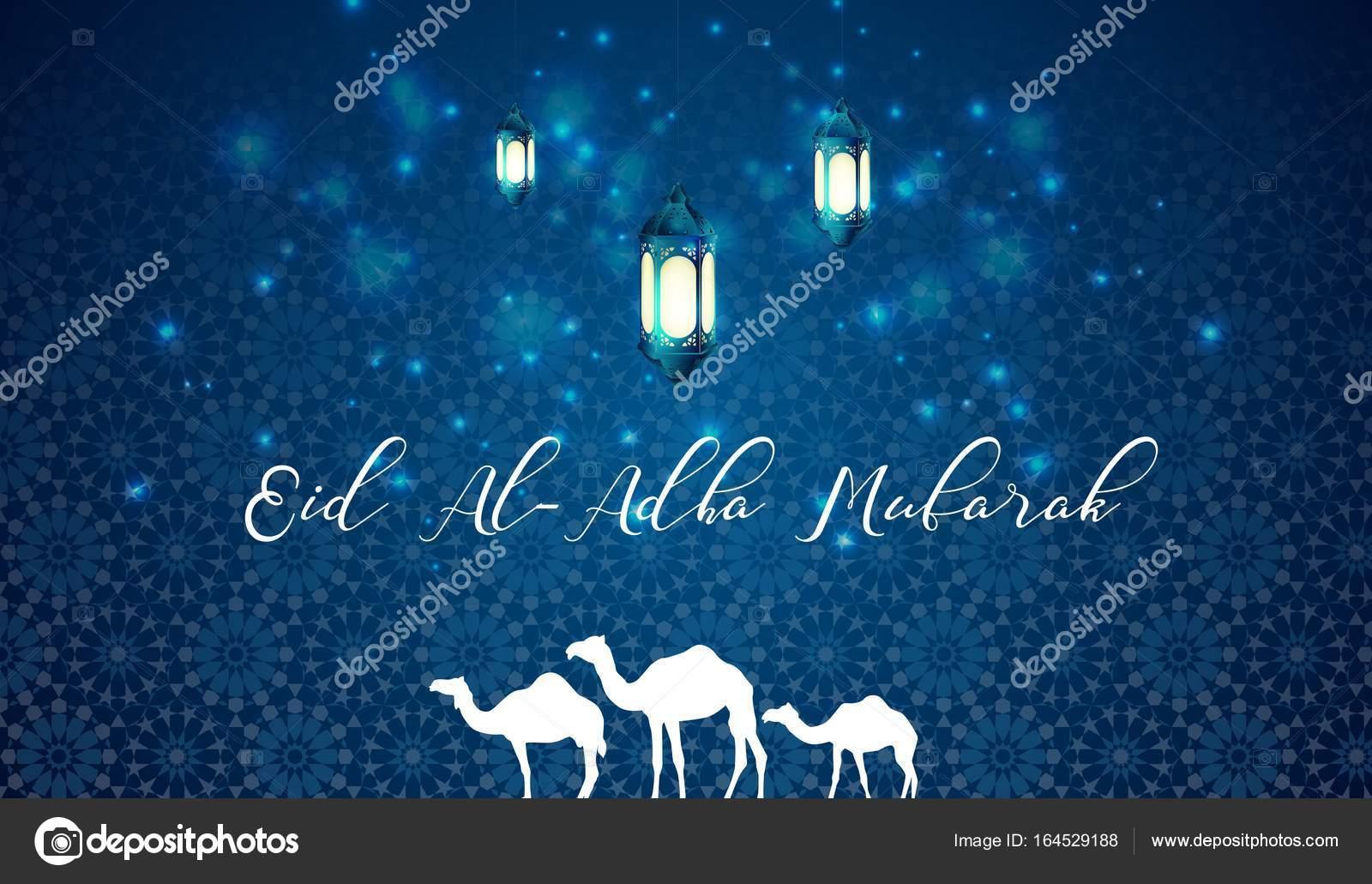 Eid Al Adha Blue Greeting Background With Arabic Lantern And Camels
