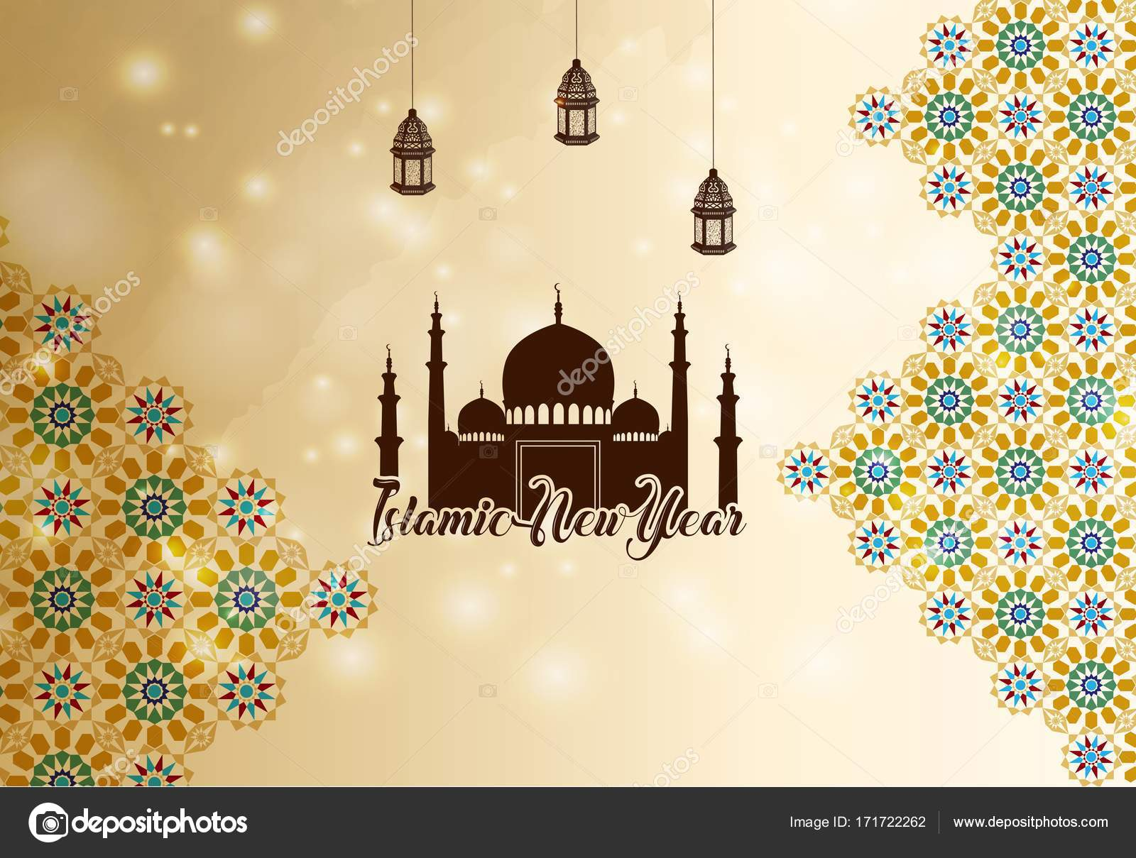 islamic new year greeting background silhouette mosque stock vector