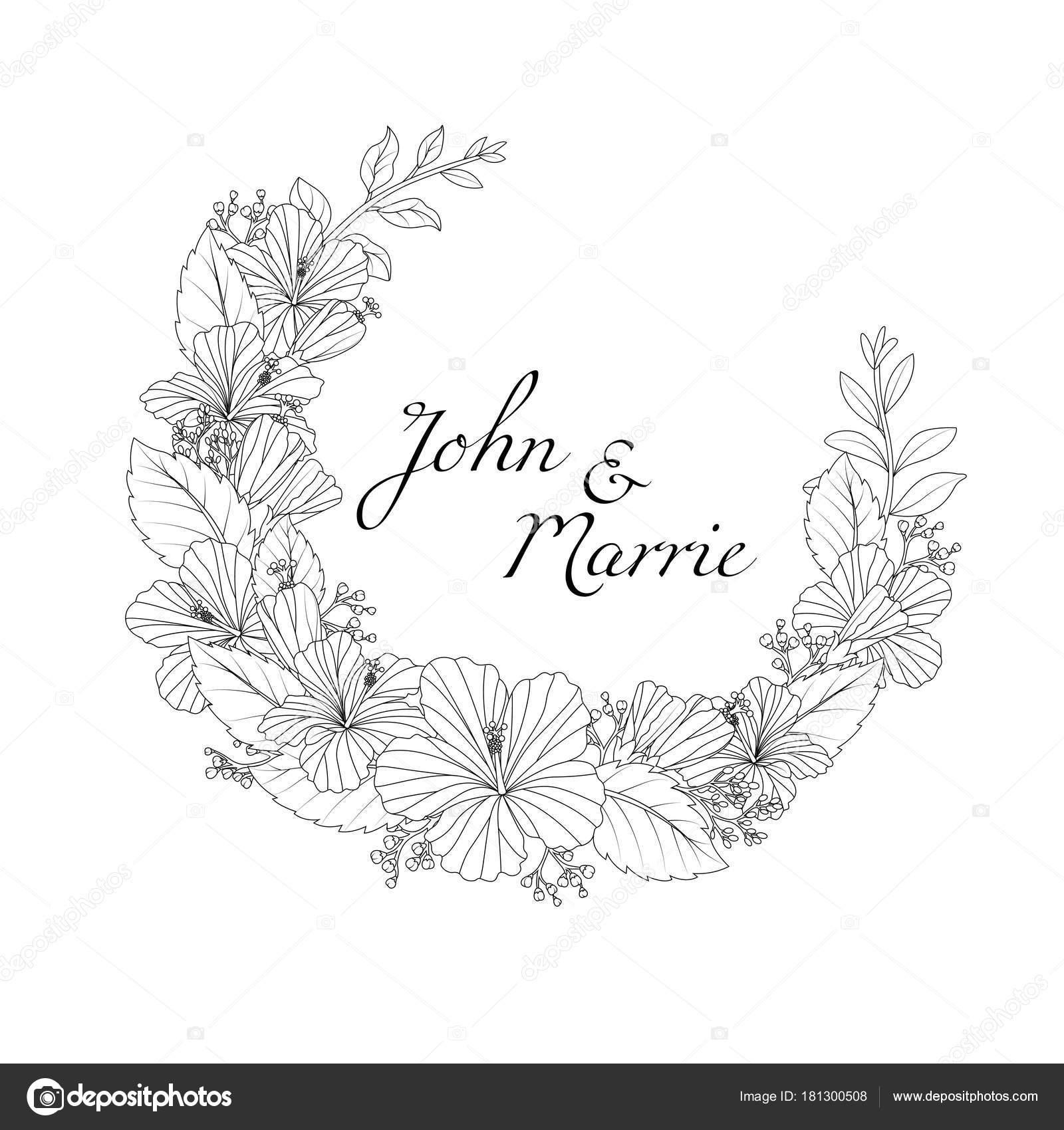 手描き花結婚式招待状のベクトル イラスト ストックベクター Artnovi