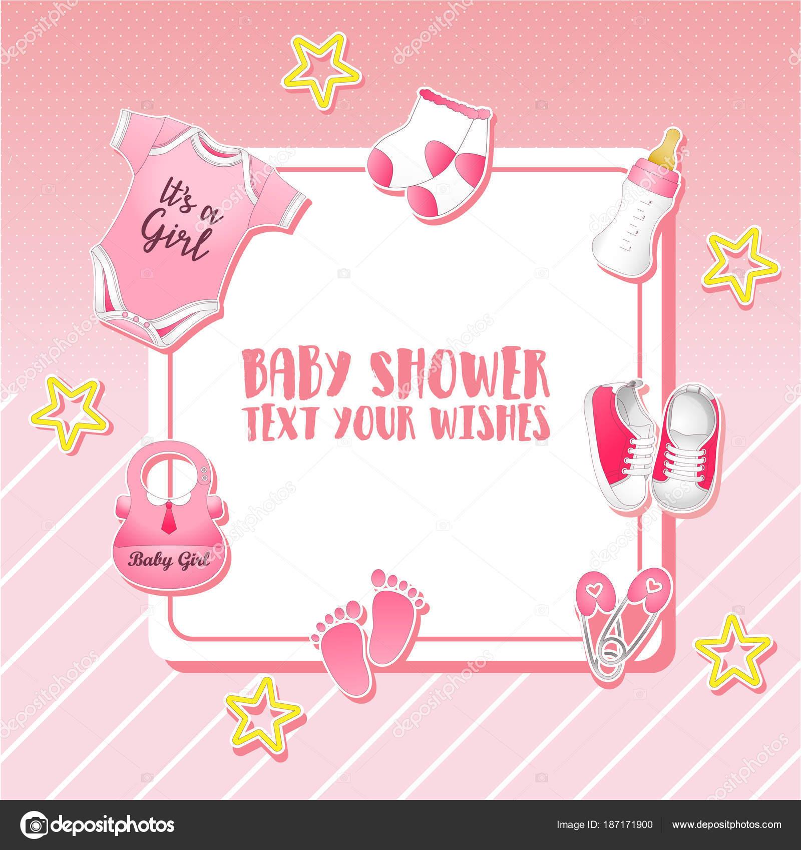Vektor Illustration Von Baby Dusche Set Einladung Vorlage Mit Platz ...