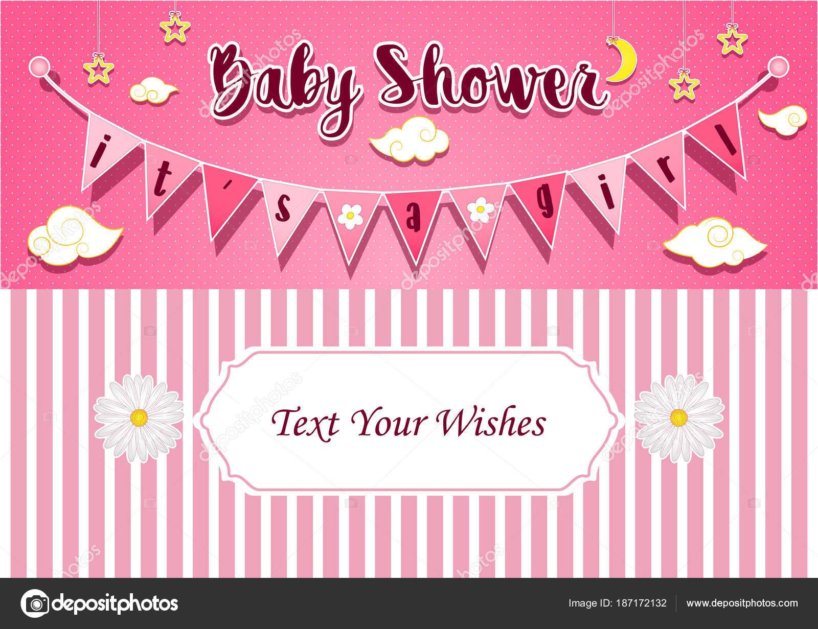 Vector Illustration Baby Girl Shower Invitation Card Design Template ...