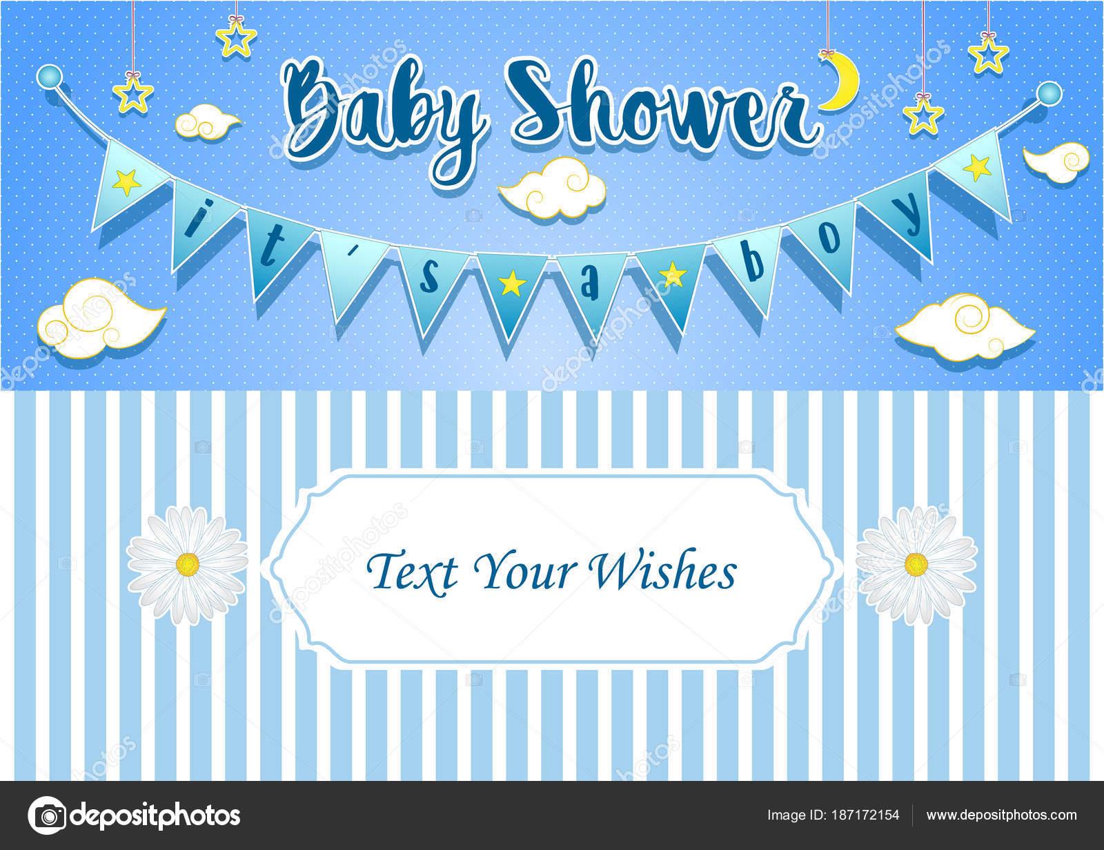 Plantilla Invitacion Baby Shower Boy Ilustración Vector
