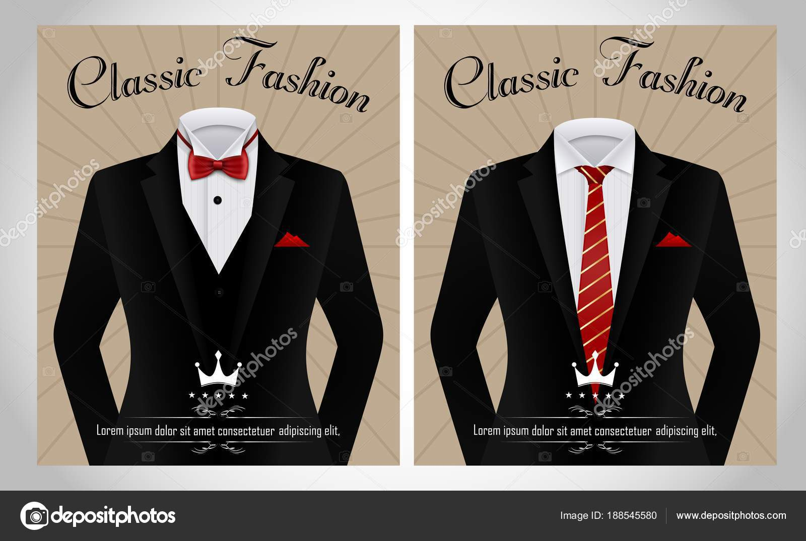 vector illustration black business suit template red tie white shirt