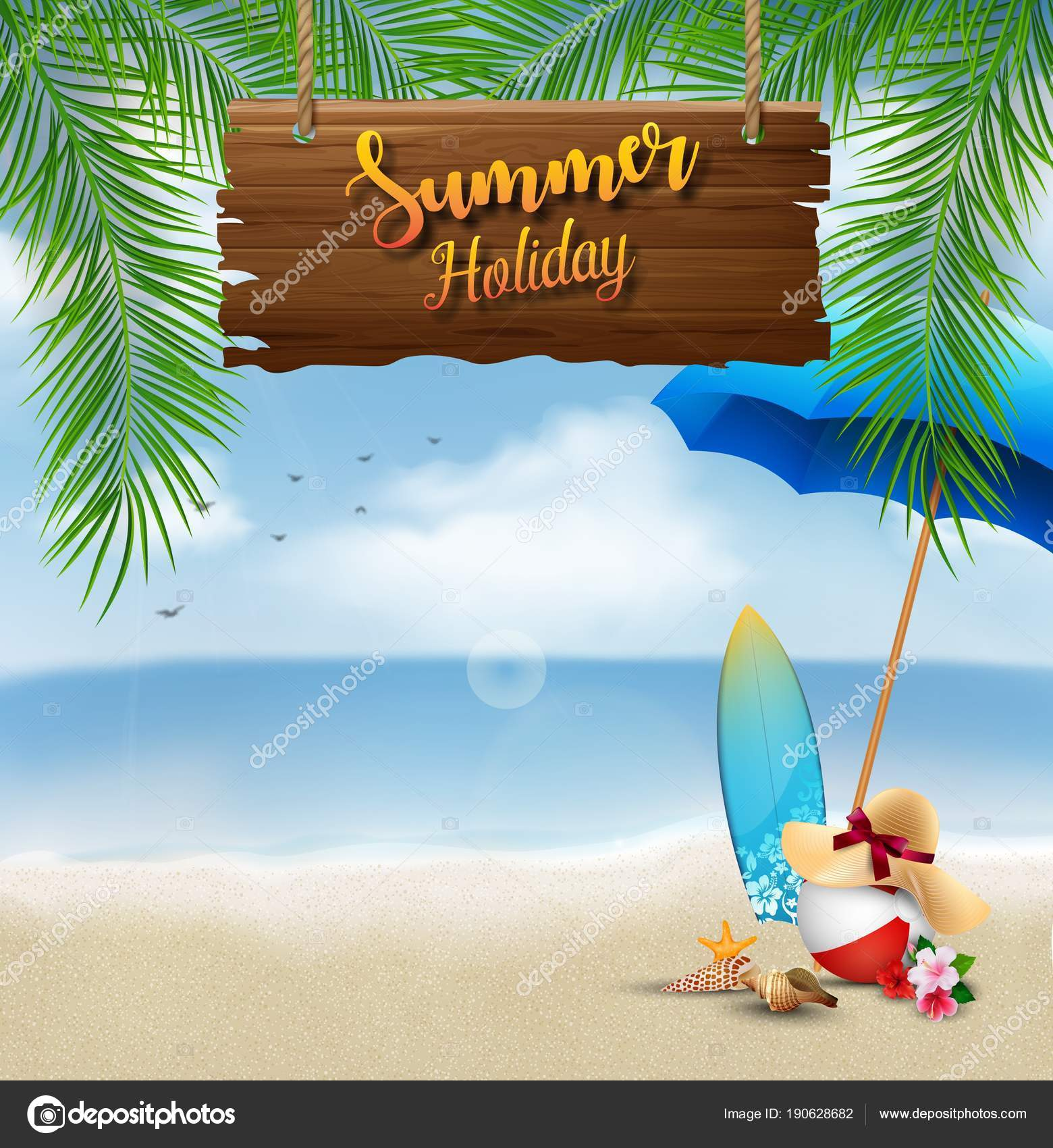 1c8f2aeee14ca Vector Illustration Summer Holiday Background Wooden Sign Text Beach  Elements — Stock Vector