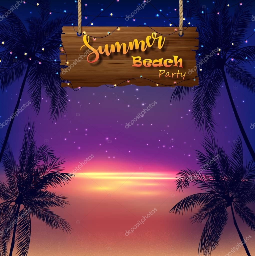 Vector illustration of Summer beach party. Tropical palm trees and wooden sign at night background