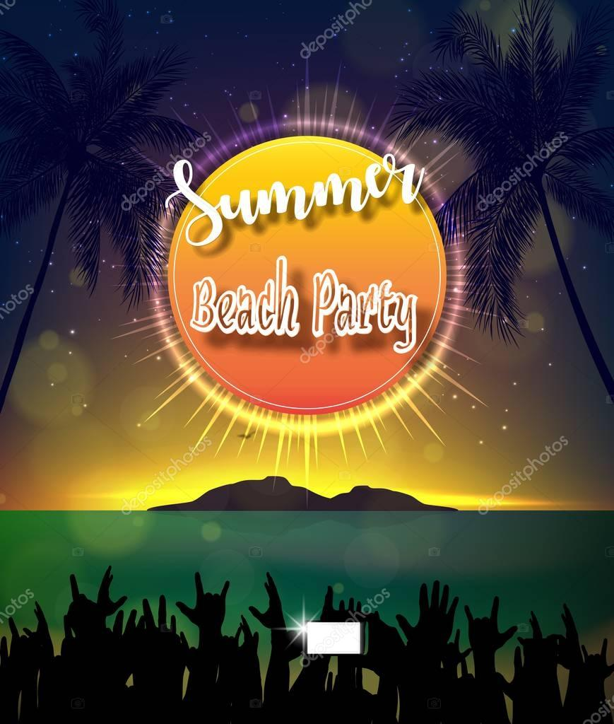 Vector illustration of Summer Beach Party Flyer Design