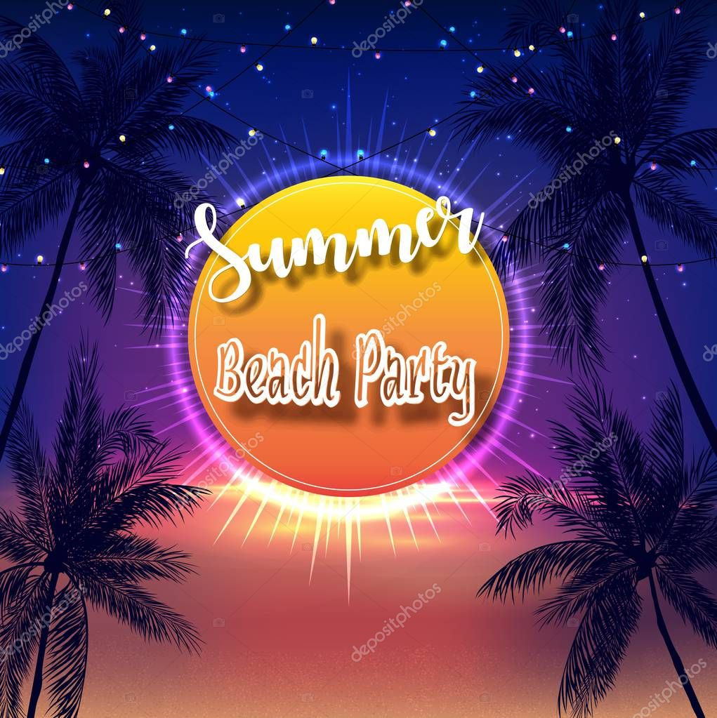 Vector illustration of Summer Beach Party Flyer