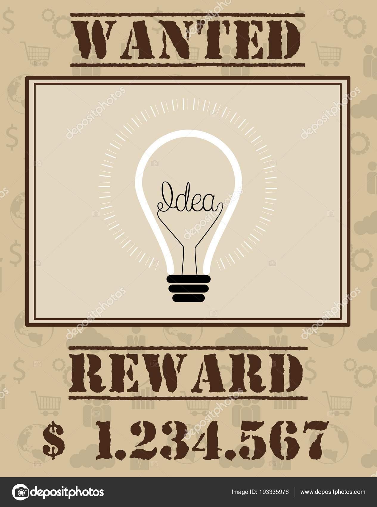 Vector Illustration Wanted Poster Light Bulb Idea Stock