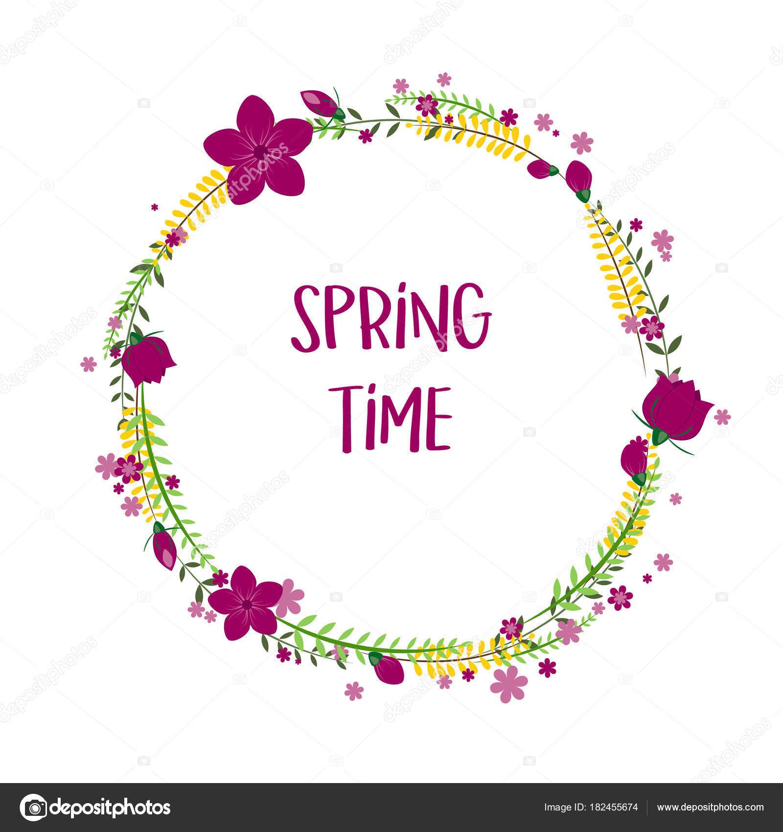 Frühling Blumen Zeitrahmen mit Blumen isoliert auf weißem ...