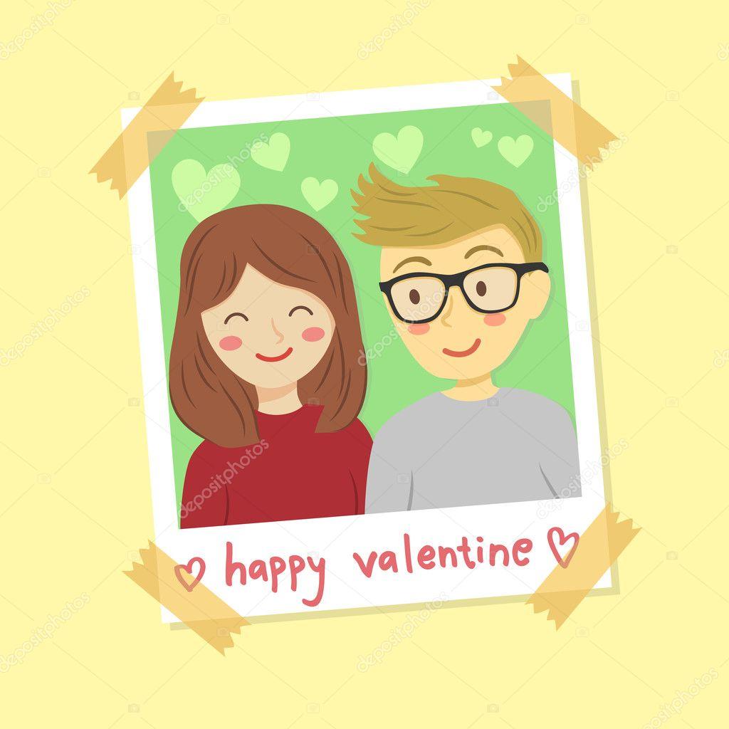 Vector de pareja foto instantánea marco San Valentín — Vector de ...