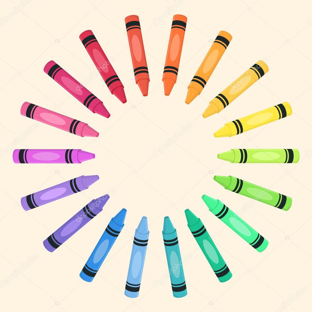 Crayon Colored Circle : Crayons circle rainbow color vector — stock