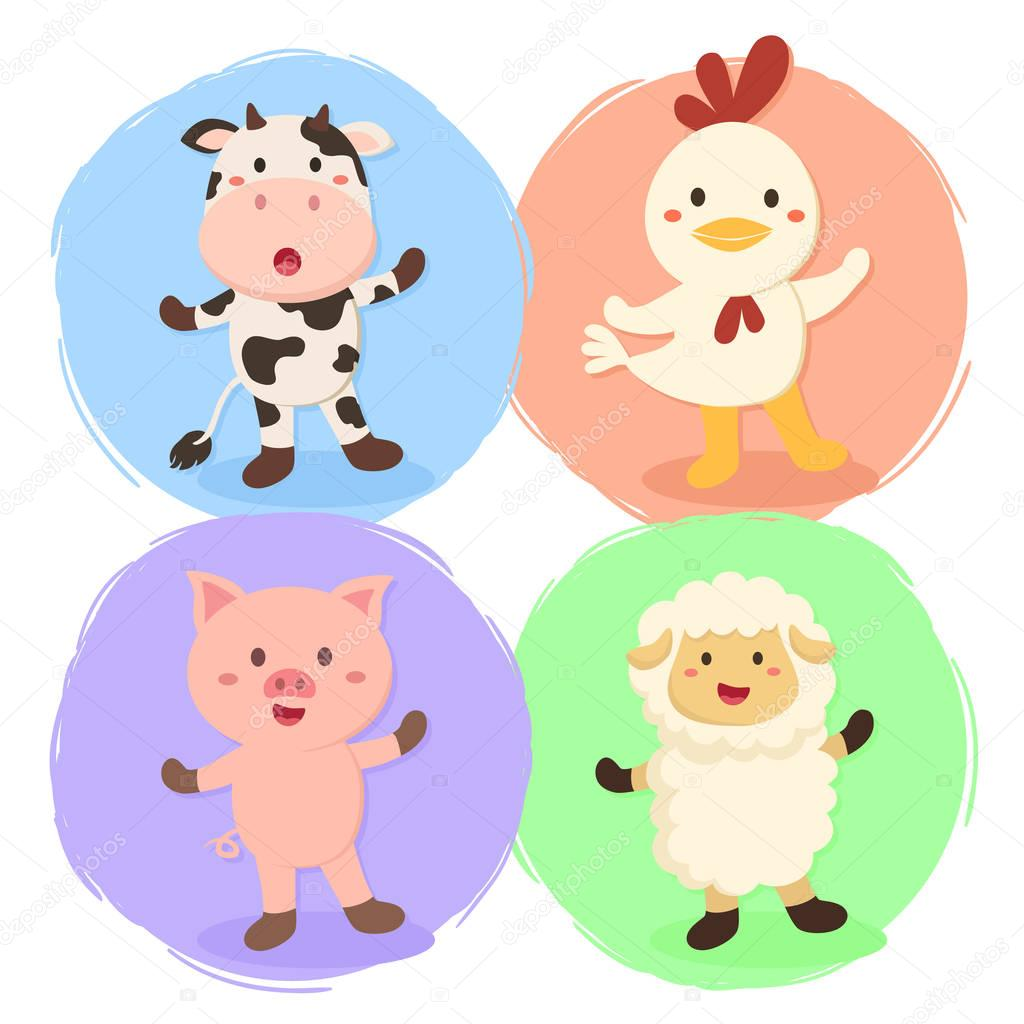 Vector Illustration Set Of Cow Chicken Sheep And Pig Farm Animal On Colorful Background By Anitnov