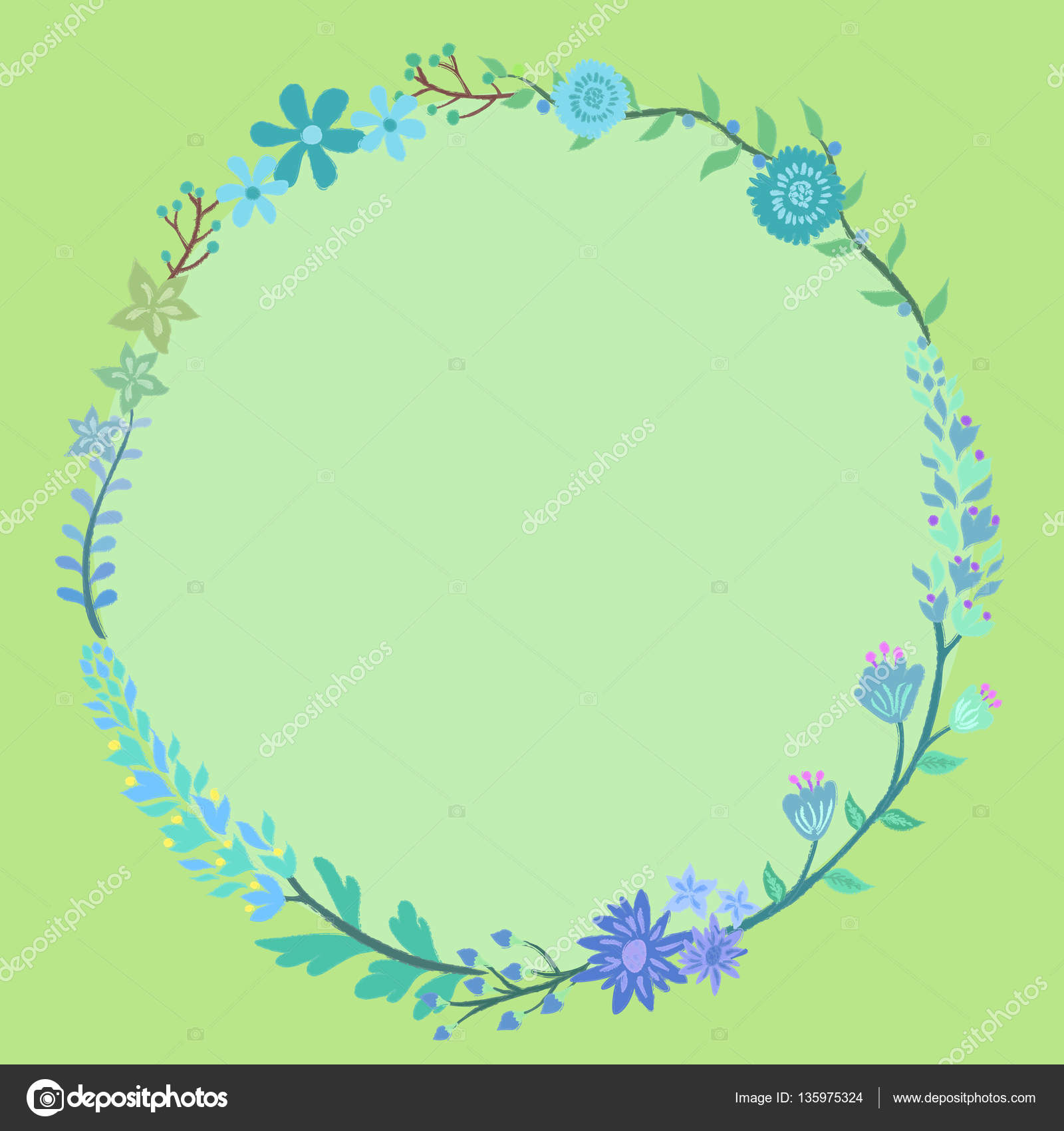 Blue flower wreath circle frame stock vector anitnov 135975324 blue flower wreath circle frame stock vector izmirmasajfo Gallery