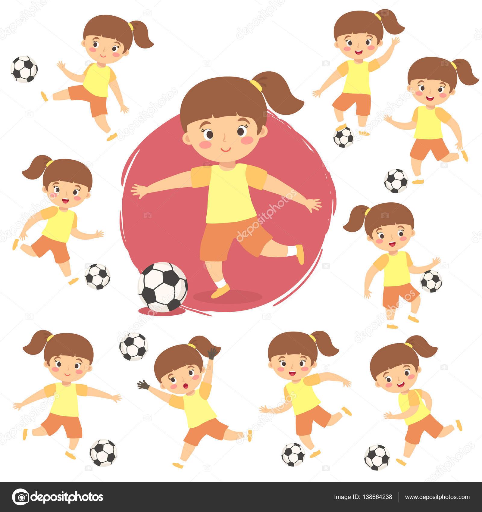 Satz Von Madchen Spielen Fussball Fussball Cartoon Vector