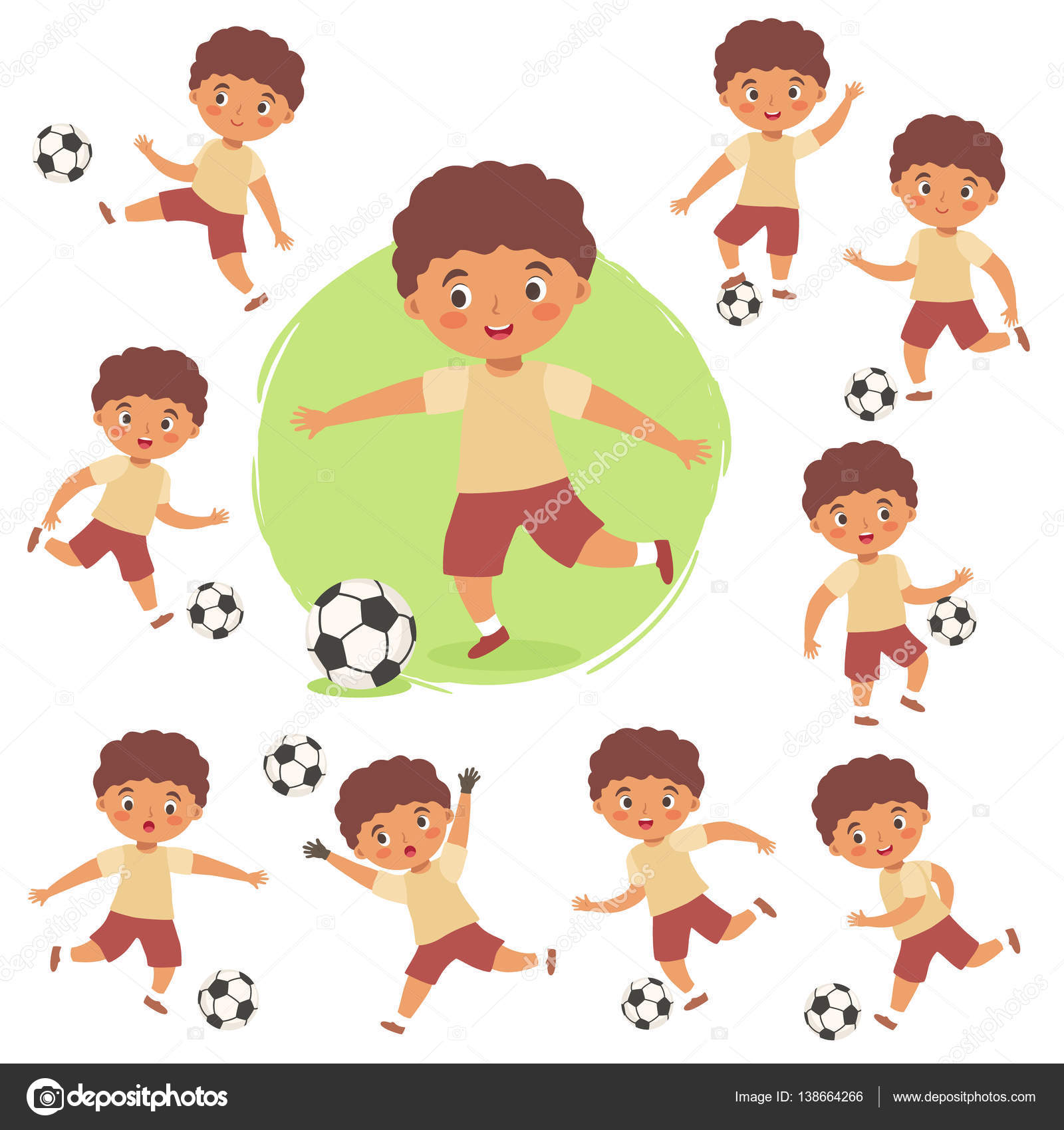Satz Von Jungen Spielen Fussball Fussball Cartoon Vector